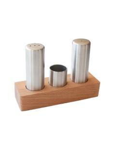 Комплект за сол и пипер с дървена поставка/ А62422