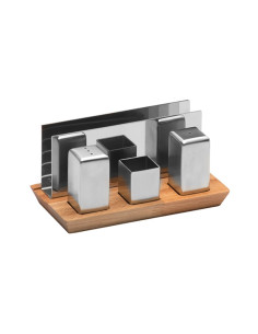 Комплект за сол и пипер с дървена поставка/ А62427