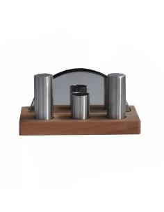 Комплект за сол и пипер с дървена поставка/ А62433