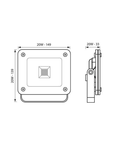 LED прожектор Z-PAD LED 20W/GR CL 4000K VIVALUX - 2