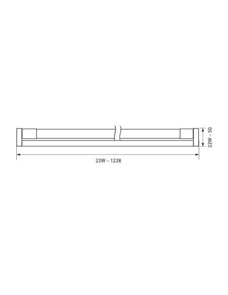 LED осветително тяло GOLF LED T8 22W CL 4000K VIVALUX - 2