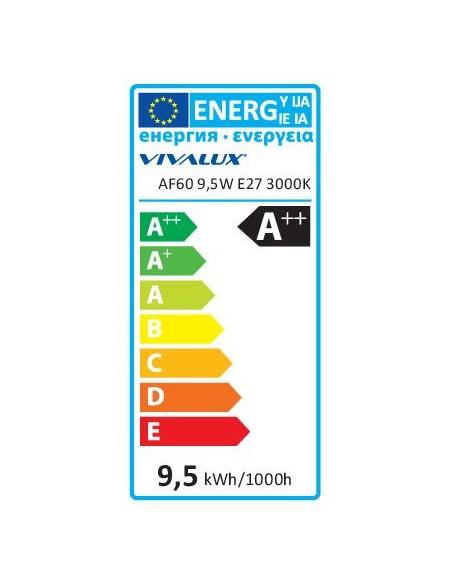 LED филамент лампа FLICK LED- AF60- 9.5W- 1200LM- E27- 3000K VIVALUX - 3