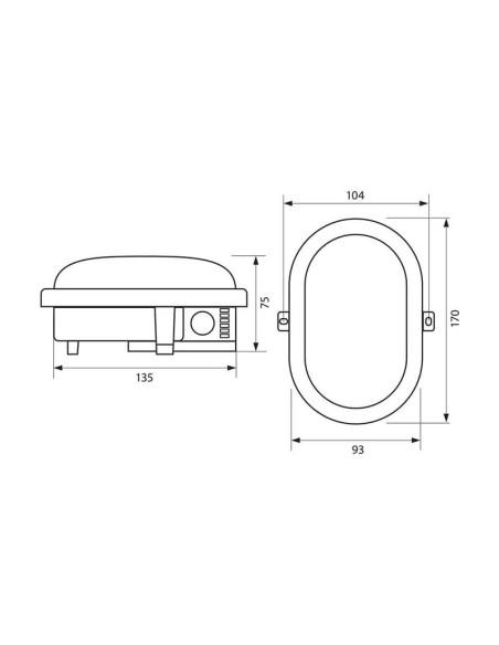 Влагозащитена LED плафониера RENE LED 8W BK/CL 4000K VIVALUX - 2