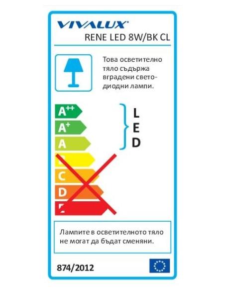 Влагозащитена LED плафониера RENE LED 8W BK/CL 4000K VIVALUX - 3