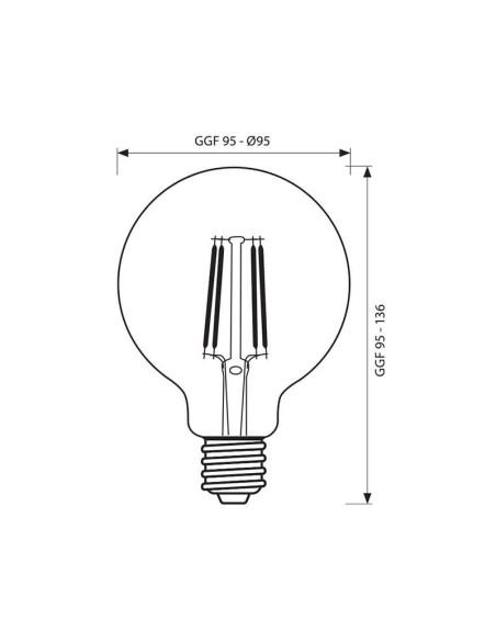 LED филамент лампа FLICK VINTAGE LED- GFV95- 6W- 590LM- E27- 2700K VIVALUX - 2