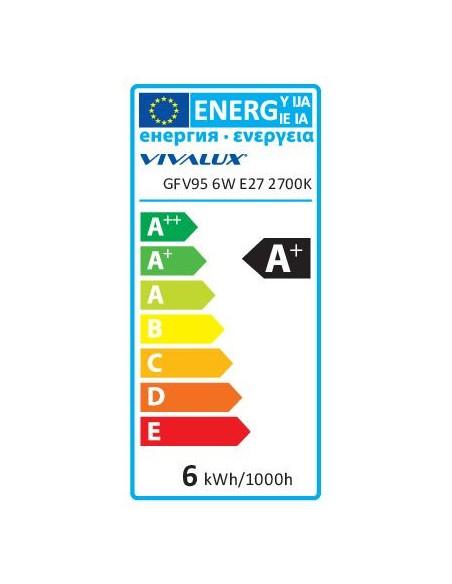 LED филамент лампа FLICK VINTAGE LED- GFV95- 6W- 590LM- E27- 2700K VIVALUX - 3