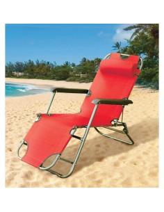 Сгъваем стол тип шезлонг 153Х60Х80 см, червен ДРУГИ - 1