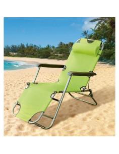 Сгъваем стол тип шезлонг 153Х60Х80 см, светлозелен ДРУГИ - 1