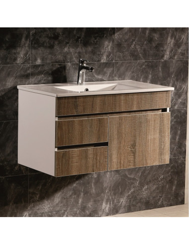 Комплект PVC шкаф за баня с MDF врати и бял порцеланов умивалник- 8146