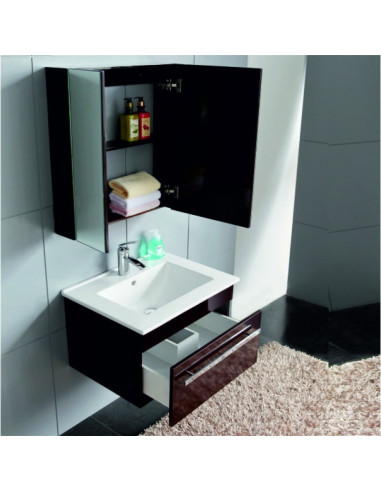 Комплект PVC шкаф, порцеланова мивка и огледален шкаф-6147 Black